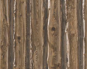 A.S. Création Papiertapete Dekora Natur 6, schwarzbraun, signalweiß, olivbraun, graubraun, 10,05 m x 0,53 m, 958371, 95837-1