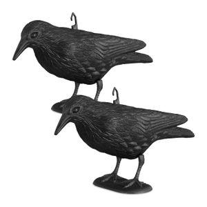 relaxdays 2x Taubenschreck, stehende Krähe 33 cm, Taubenabwehr, Vogelabwehr, Vogelschreck