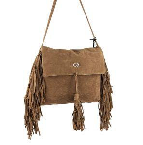 ital-design Fransen Damentasche Schultertasche Umhängetasche Tasche Beutel Beuteltasche Trend-Bags PolyurethanWildleder