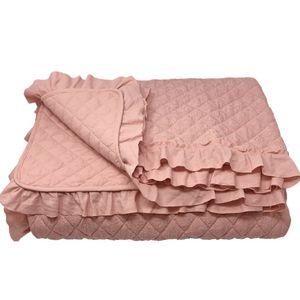 Tagesdecke gesteppt Bett & Sofaüberwurf Altrose Rüschen 220cm x 200cm