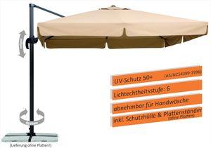 Schneider Ampelschirm RHODOS 300 x 300 cm inkl. Plattenständer (für Wegeplatten), Farbe Natur