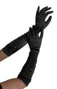 krautwear® 1 Paar geraffte ellenbogenlange Satin Handschuhe (schwarz)