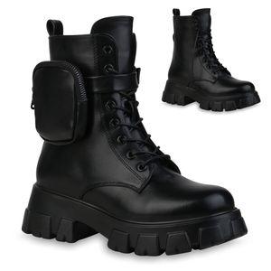 Mytrendshoe Damen Stiefeletten Leicht Gefütterte Plateau Boots Taschen Stiefel 835903, Farbe: Schwarz PU, Größe: 39