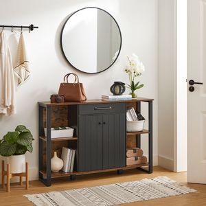 VASAGLE Sideboard, Küchenschrank mit Schublade, 120 x 30 x 80 cm, Beistellschrank mit Türen, Mehrzweckschrank, Metallgestell, vintagebraun-schwarz LSC103B01
