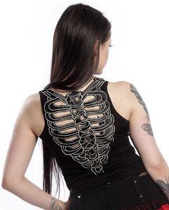 Longtop schwarz mit Skelett Rücken Damen Größe: M