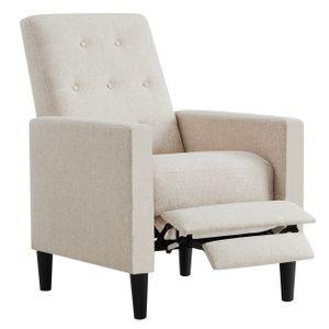 VASAGLE Relaxsessel丨Fernsehsessel mit gepolstertem Sitz丨verstellbare Fußstütze Rückenlehne丨beige LAC103M01