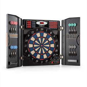 OneConcept Masterdarter - Dartautomat, elektronische Dartscheibe, E-Darts, Spielcomputer, bis zu 16 Spieler, virtueller Gegner, LED-Anzeigen, 12 Softtip-Darts, 2 Türen in Holzoptik, schwarz