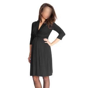 Frauen Umstands Kleid Robe geraffte V-Ausschnitt 3/4 Ärmel Pflege Schwangerschaft Kleidung schwarz S