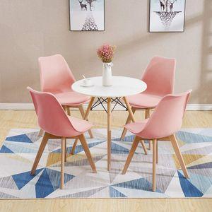 Esstisch mit 4 Stühlen Rosa Esszimmer Essgruppe(Runde)70x70x75cm lässiger Tisch  Kunstleder Essensstuhl   MDF