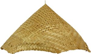 Deckenlampe / Deckenleuchte, in Bali Handgemacht aus Naturmaterial, Bambus - Modell Rice Field, Gelb, Holz,Baumwollstoff, 20*41*38 cm, Hängeleuchten aus Natürlichen Materialien