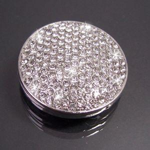Brosche Magnet Magnetbrosche Strass Rund 3,3cm Silber Schmuck B77738