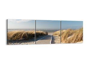 "Leinwandbild - 90x30 cm - ""Hinter der Düne, im Rascheln des Grases""- Wandbilder - Meer Strand Düne - Arttor - CA90x30-2657"