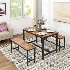 VASAGLE Esstisch, Küchentisch, 120 x 75 x 75 cm, Esszimmertisch für 4 Personen, Kaffeetisch, Stahlgestell, einfacher Aufbau, Industrie-Design, Vintage dunkelbraun KDT75X