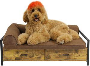Hundebett mit Schublade, Hundesofa/Hundecouch Fahmen, Erhöhtes Haustierbett Plattform Bettrahmen