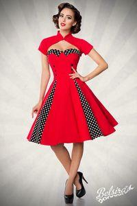 Vintage-Kleid mit Bolero, Farbe: Rot/Schwarz, Größe: M