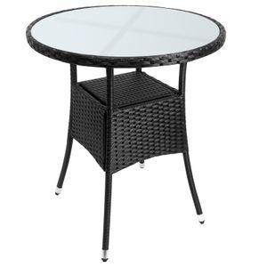 Casaria Poly Rattan Balkontisch Gartentisch Ø60 cm Rund Milchglas Tischplatte Beistelltisch Gartenmöbel Schwarz