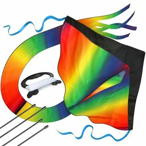 Große Regenbogen Delta Drachen Rainbow Kite 100M Drachenschnur und Spannweite Großer Kinderdrachen 210T