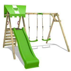 FATMOOSE Kinderschaukel Schaukelgestell JollyJess mit apfelgrüner Rutsche Schaukel, Schaukelgerüst, Doppelschaukel, Holzschaukel