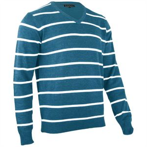 Hemmy Herrenpullover Pullover Gestreift mit V-Neck Ausschnitt, Farbe: Petrol, Größe: L