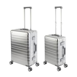Travelhouse Oslo - 2er Reisekoffer Set S+M - Aluminium Hartschale Silber