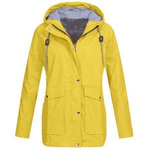 Solid Rain Jacke Outdoor Plus Jacken Wasserdichter Regenmantel mit Kapuze Winddicht Größe:L,Farbe:Gelb