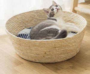 Katzenkorb Weide Transportbox Katzenbett Hundebett Bett Hundekorb Schlafkorb mit Katzenkissen,35x13cm