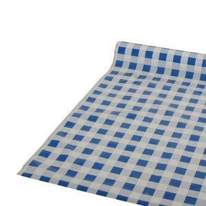 Papstar Tischdecke, Folie 50 m x 80 cm blau Karo 81610