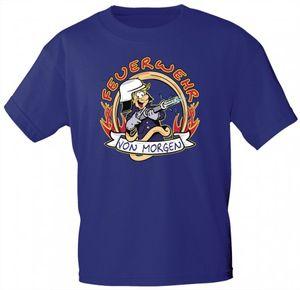 Kinder T-Shirt mit Print - Feuerwehr von morgen - 06936 - royalblau - Gr. 86-164 Größe -
