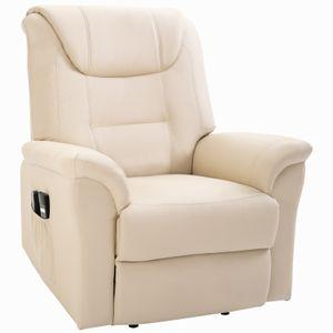 HOMCOM elektrischer Massage-Liegestuhl mit Vibrierendemassage Heizfunktion Aufstehhilfe Elektrorollstuhl Fernbedienung mit Netzkabel Kunstleder Cremeweiß 93 x 95 x 106 cm