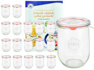 18 Weck Gläser 1062ml Tulpengläser, 1L Sturzgläser mit 18 Deckeln, 18 Einkochringen, 36 Klammern