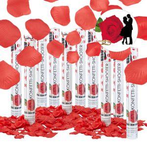 relaxdays 10x Party Popper Rosenblätter rot, Konfettikanone für Hochzeit, Konfettipistole