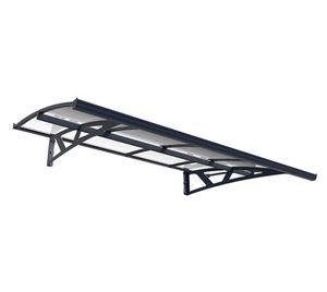 Palram Aluminium Vordach 2,3x1,4 m Amstadam 2230 grau Überdachung Unterstand Glasvordach