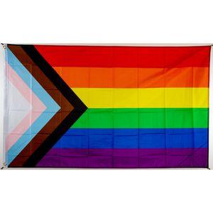 Flagge Progress Pride 90 x 150 cm mit Ösen