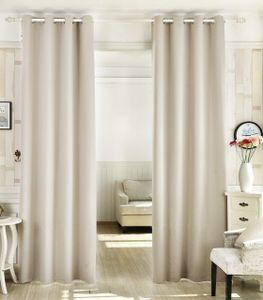 WOLTU Vorhänge aus 100% Polyester blickdicht mit Ösen (1 Stück) creme 135x225 cm
