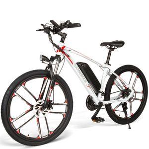 "SAMEBIKE MY-SM26 26"" Elektrofahrrad E-Bike Mountainbike SHIMANO 21 Speed  48V 8AH 350W 30 km/h LCD Display Weiß E-Trekkingrad E-MTB Moped"