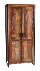 SIT Möbel Schrank | 2 Türen, 3 Böden innen, 1 Kleiderstange | Altholz bunt | Altmetall antikschwarz | B 80 x T 45 x H 180 cm | 03564-98 | Serie BALI