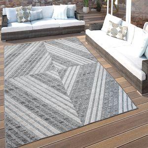 In- & Outdoor-Teppich Für Balkon Terrasse, Kurzflor Mit 3-D Rauten-Muster, In Grau, Grösse:120x170 cm