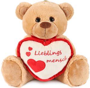 BRUBAKER Teddy Plüschbär mit Herz Rot Beige - Lieblingsmensch - 35 cm - Teddybär Plüschteddy Kuscheltier Schmusetier - Braun Hellbraun