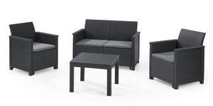 Keter Lounge Set Emma 8-teilig - graphit , 2 Sessel + 2er Sofa + 1 Tisch + 4 Sitzauflagen