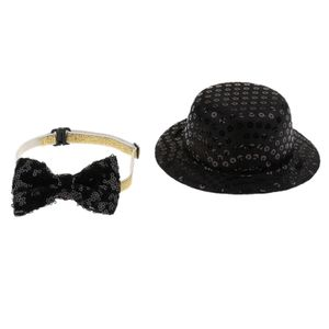 Hund Katze Zylinder Hut mit Halsband Fliege Schleife für Weihnachten Hochzeit Party