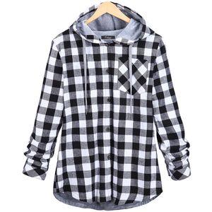 Damen Retro Langarm Loose Hooded Plaid Cardigan Jacke,Farbe: Grau,Größe:XL
