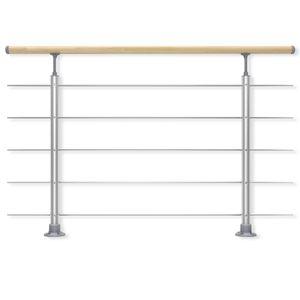 DOLLE Geländer-Set aus Aluminium mit Handlauf aus Buche, Füllstäbe aus Edelstahl, Für aufgesetzte Montage, 150 cm ,  Als Treppengeländer oder Brüstungsgeländer im Innenbereich geeignet