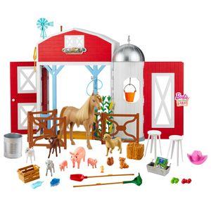 Barbie Spaß auf dem Bauernhof Scheunen-Spielset mit Tieren und Zubehör