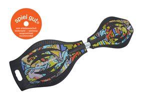 Schildkröt Waveboard Good Vibes, Design: Graffiti, leichtes und wendiges Casterboard, großes Deck mit Anti-Rutsch Noppen