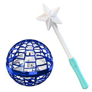 Flynova Pro Flying Ball Bumerang Spinner Dynamische RGB-Lichter mit Magic Stick Control (Blauer Ball + Magic Stick)