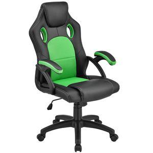 Juskys Racing Schreibtischstuhl Montreal (grün) ergonomisch, höhenverstellbar & gepolstert, bis 120 kg - Bürostuhl Drehstuhl PC Gaming Stuhl