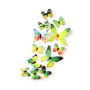Oblique Unique 3D Schmetterlinge 12er Set Wandtattoo Wandsticker Wanddeko - Real grün