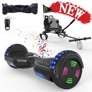 MICROGO Hoverboard 6,5 Zoll Hoverboard Sitz Hoverkart Hoverboard  Mit Sitz Mit Bluetooth Und LED-Leuchten Fernbedienung und Tasche Hoverboard Sitz für Kinder und Jugendliche