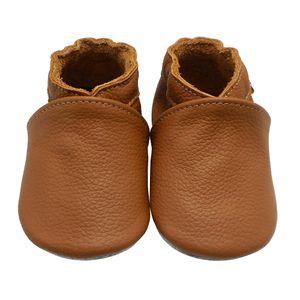 Weiche Yalion Baby Krabbelschuhe Lauflernschuhe Lederpuschen aus echtem Leder Einfarbig Braun (L, 12-18 M, EU 21-22)