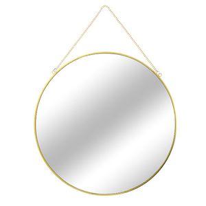 Runder Wandspiegel / Hängespiegel Gold mit Kette Ø 30 cm
